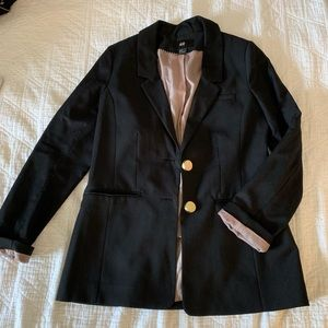 Black H&M blazer, gold buttons and blush lining